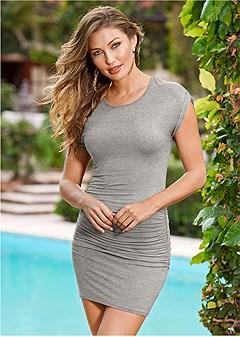 ruched t shirt dress