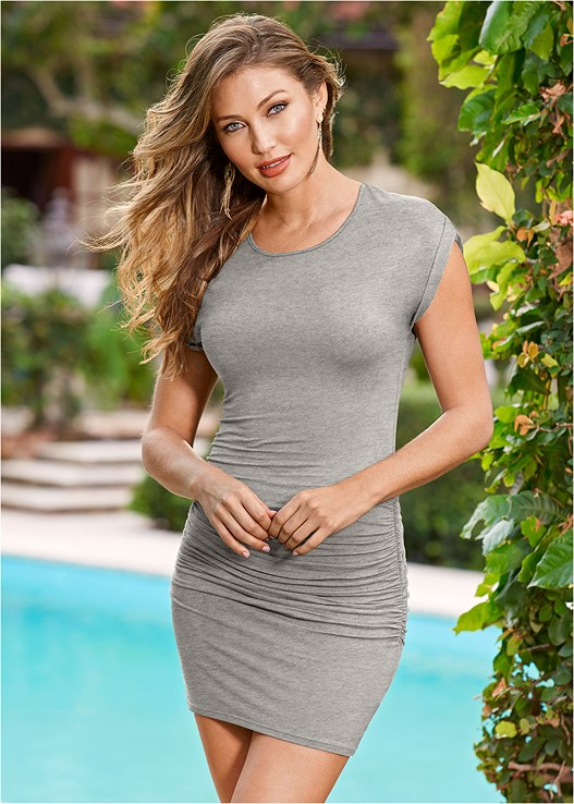 7e676866dd8 Heather Grey RUCHED T SHIRT DRESS