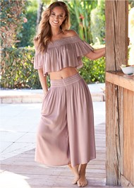 Front View Smocked Waist Cover-Up Pant