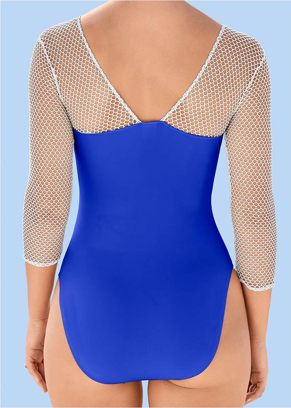 Alternate View Mesh Sleeved One-Piece