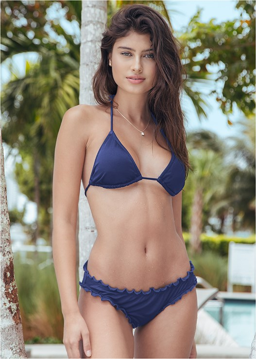 TRIANGLE BIKINI TOP,RUFFLE EDGE LOW RISE BOTTOM,LOW RISE BIKINI BOTTOM,SCOOP FRONT BIKINI BOTTOM