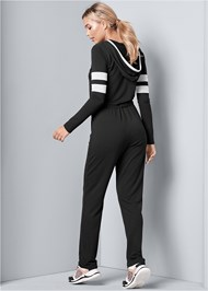 Back View Stripe Lounge Jumpsuit