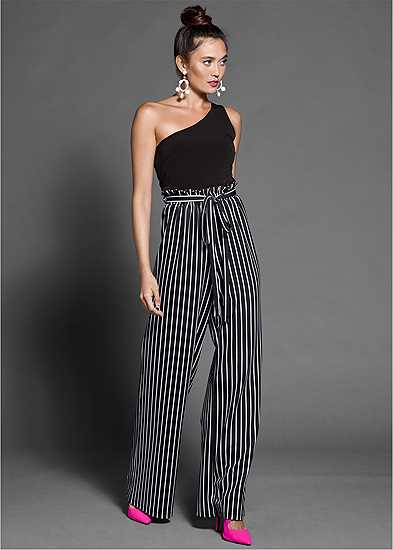 Paperbag Stripe Jumpsuit