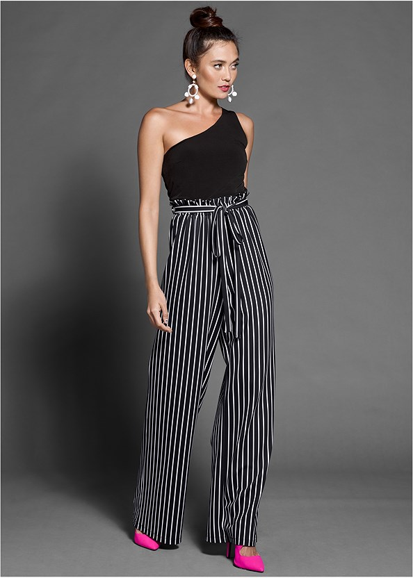 Paperbag Stripe Jumpsuit,Full Figure Strapless Bra,Lucite Detail Heels,Steve Madden B Corina,Striped Sequin Backpack
