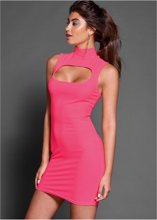 CUT OUT BODYCON DRESS,OMBRE GLITTER HEELS,HOOP DETAIL EARRINGS