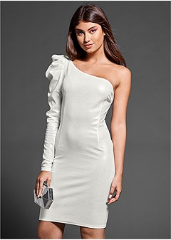puff shoulder detail dress