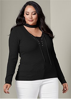 plus size mock neck lace up sweater