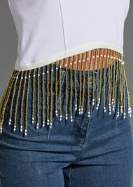 Alternate View Beaded Fringe Crop Top