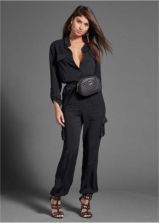 CARGO JUMPSUIT,LONGLINE PUSH UP BRA,STUDDED HEELS,QUILTED BELT BAG,HOOP DETAIL EARRINGS