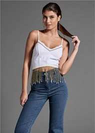 Front View Beaded Fringe Crop Top