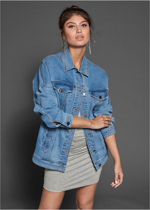 OVERSIZED DENIM JACKET,RUCHED TANK DRESS