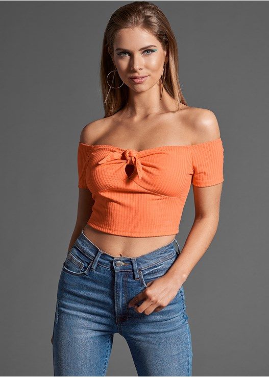 RIBBED BOW DETAIL CROP TOP,DISTRESSED JEAN,STUDDED HEELS