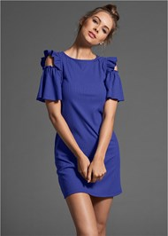 Front View Ruffle Detail Ribbed Dress
