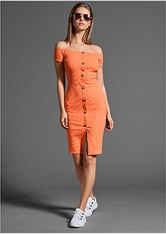 button front ribbed dress