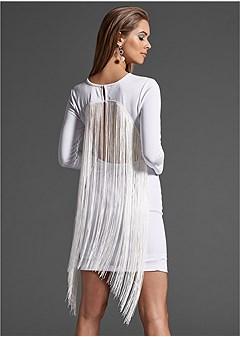 back fringe detail dress