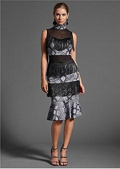 fringe detail midi dress