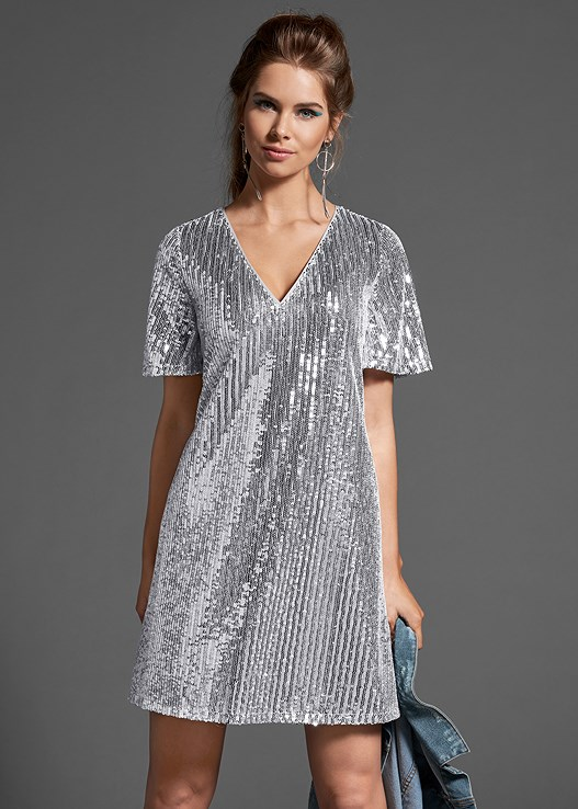 SEQUINS SHIRT DRESS,EYELET DETAIL SNEAKERS