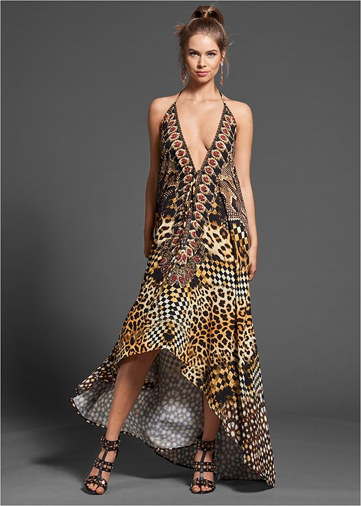 ANIMAL PRINT MAXI DRESS,CHANDELIER EARRINGS,STUDDED HEELS