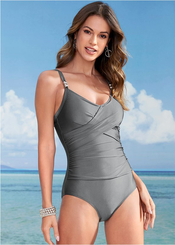 Slimming One-Piece,Slit Leg Jumpsuit Cover-Up