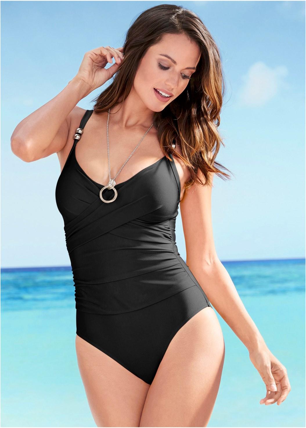 Slimming One-Piece,Tie Front Beach Shirt
