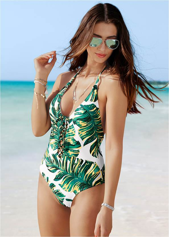 Alternate View Lace Up One-Piece