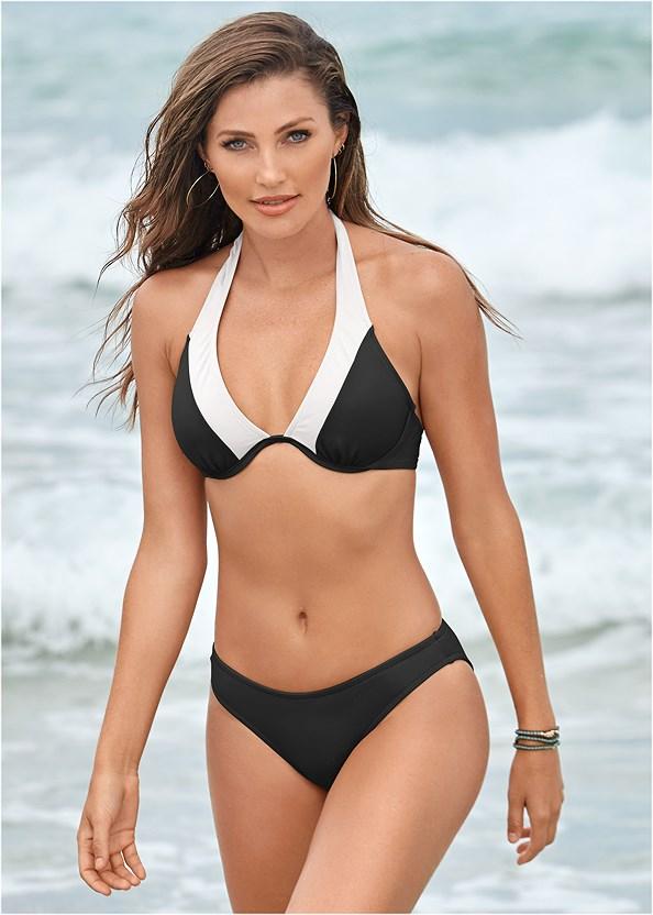 Underwire Halter Bikini Top,Scoop Front Bikini Bottom