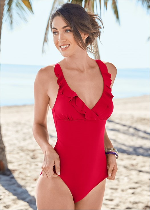 RUFFLE TRIMMED ONE-PIECE,OFF THE SHOULDER COVER-UP,PANAMA HAT