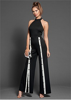 stripe front snap jumpsuit