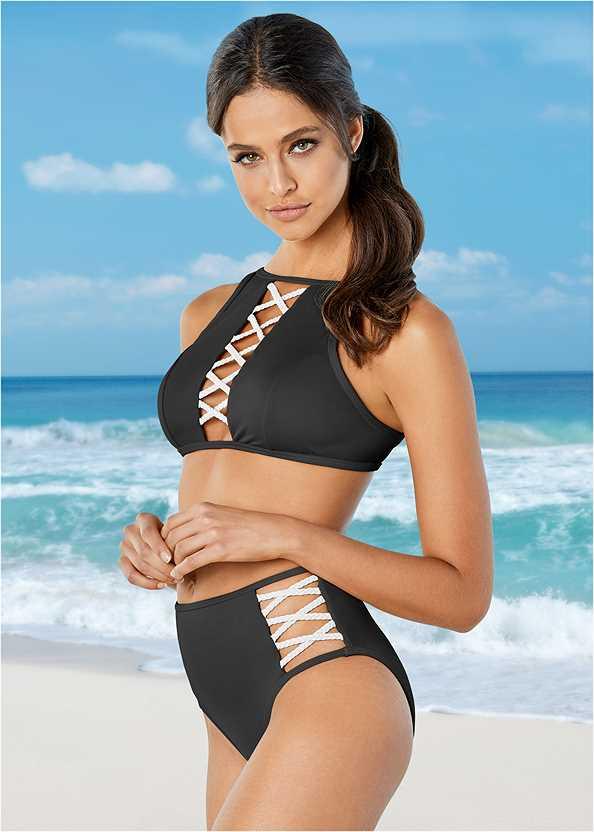 Braided High Neck Top,Braided High Waist Bottom,Adjustable Side Swim Short,Lattice Side Bikini Bottom