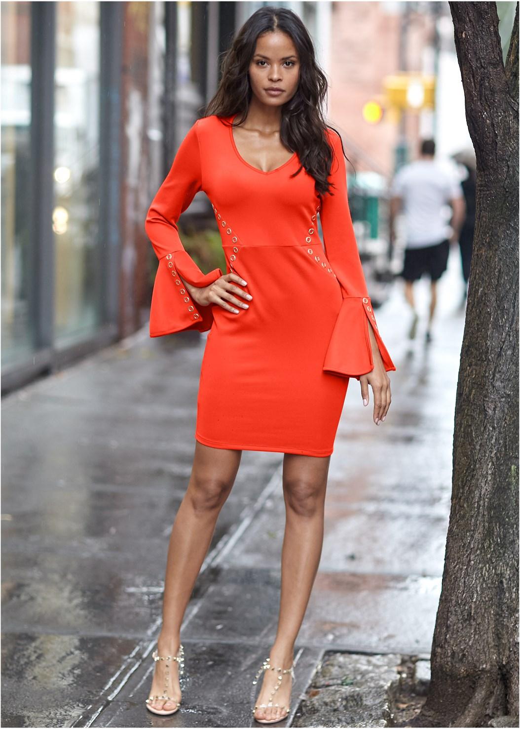 Bodycon Grommet Dress,Transparent Studded Heels
