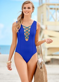 Front View Braided Lace Up One-Piece