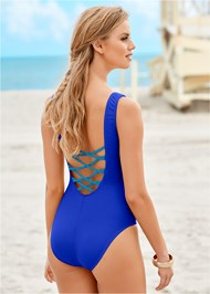 Back View Braided Lace Up One-Piece