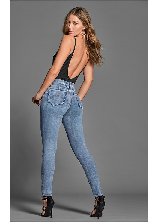 BUM LIFTER JEANS,ILLUSION MESH BODYSUIT