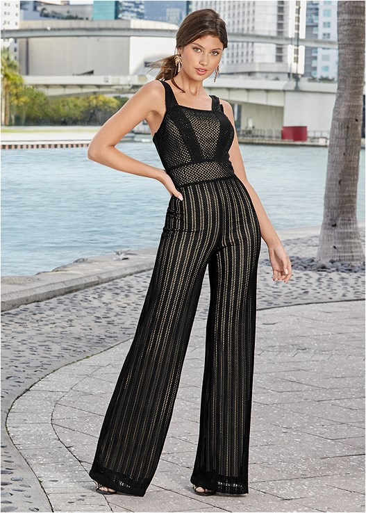 KNIT JUMPSUIT,HIGH HEEL STRAPPY SANDALS,PALM TREE EARRINGS