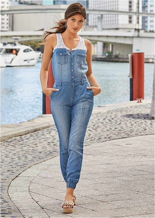 LACE DETAIL DENIM JUMPSUIT,LACE CONVERTIBLE BRA,LUCITE HEEL MULES,ESPADRILLE SLIDES,HOOP EARRINGS,BEADED HOOP EARRINGS
