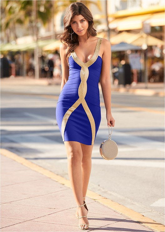 BANDAGE BODYCON DRESS,HIGH HEEL STRAPPY SANDALS