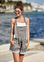 french terry short overalls