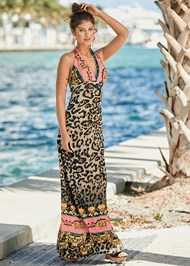 Front View Leopard Print Maxi Dress