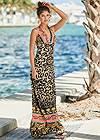 Front View Leopard Print Maxi Dress