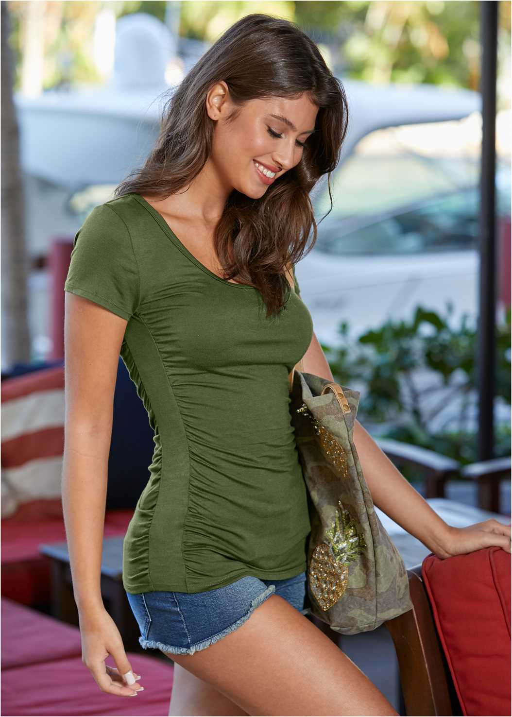 Ruched Detail Top,Frayed Cut Off Jean Shorts,Mid Rise Color Skinny Jeans,Camo Tote Bag
