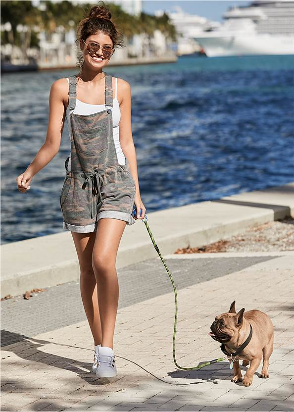 French Terry  Drawstring Short Overalls,Basic Cami Two Pack,Embellished Slides