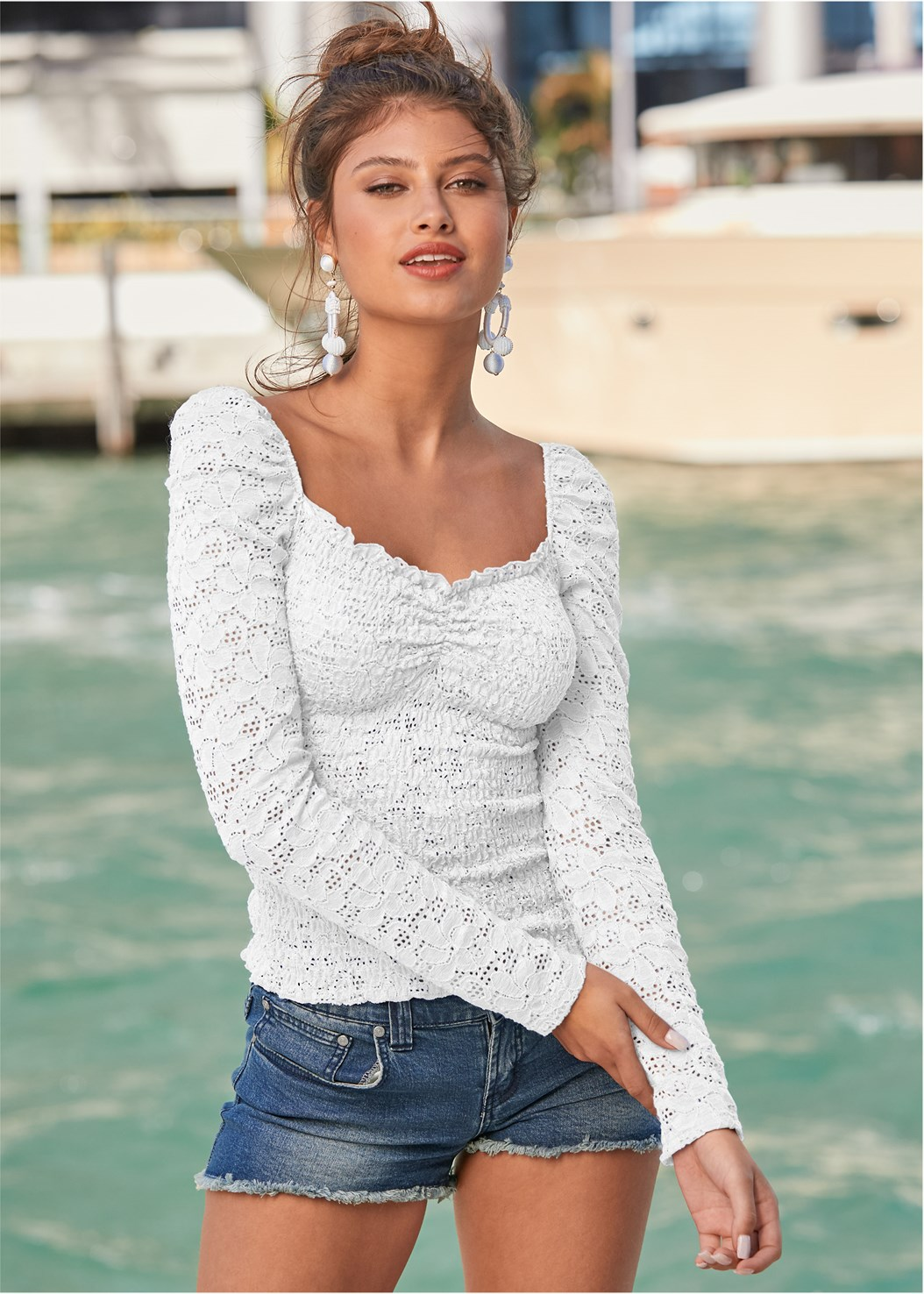 Smocked Lace Top,Frayed Cut Off Jean Shorts,Fold Over Boot
