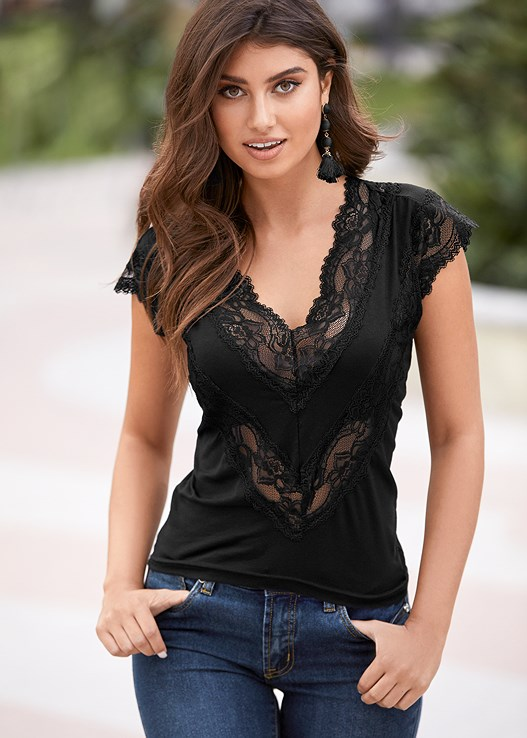 LACE INSET V-NECK TOP,COLOR SKINNY JEANS,3 PK OF PETALS,RIBBON TRIM HEEL,BEADED HOOP EARRINGS,EVERYDAY YOU LACE BACK BRA