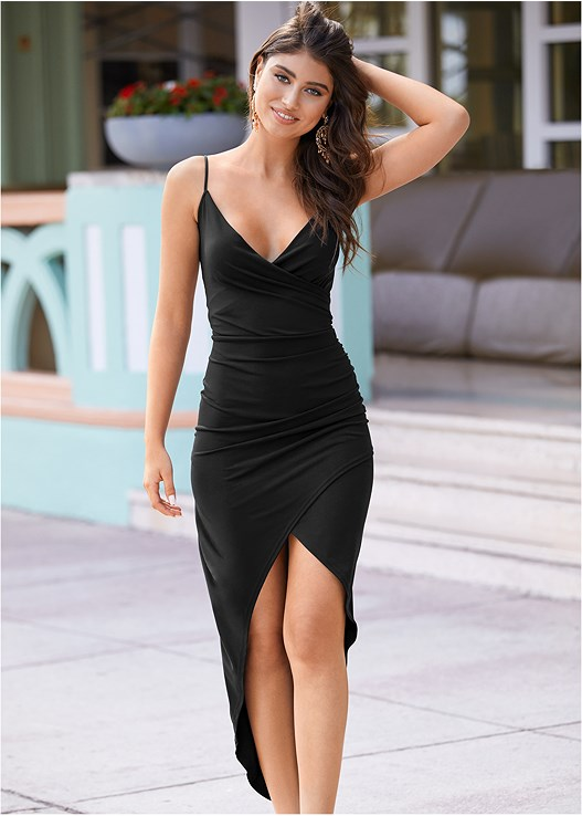 HIGH SLIT PARTY DRESS,STUDDED HEELS,CHANDELIER EARRINGS