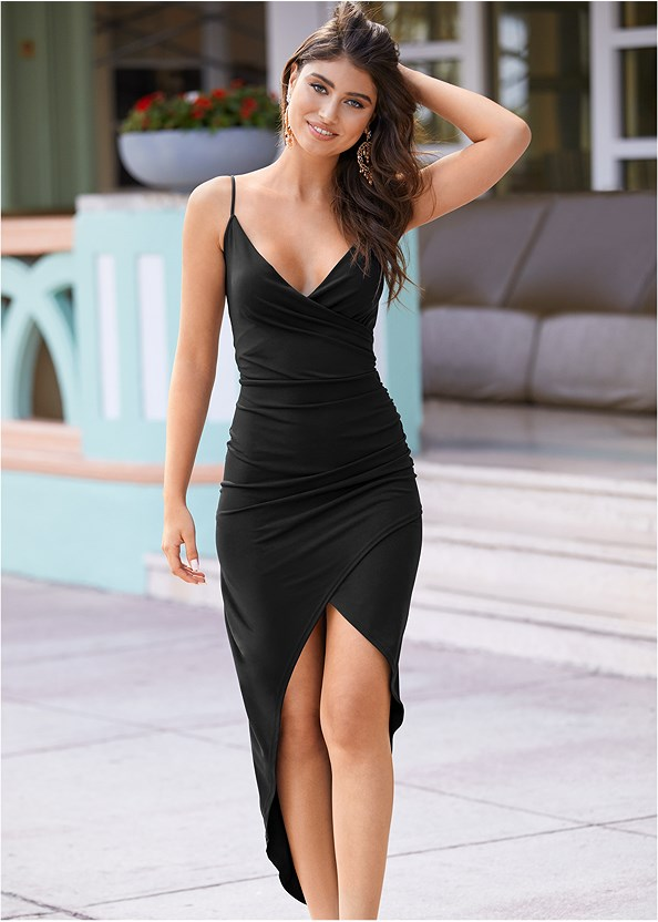High Slit Party Dress,Wrap Around Heels,Crisscross Strappy Heel,Embellished Resin Earrings