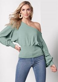 Front View Off The Shoulder Sweatshirt
