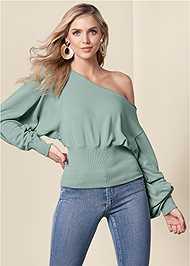 Front View Off The Shoulder Sweatshirt