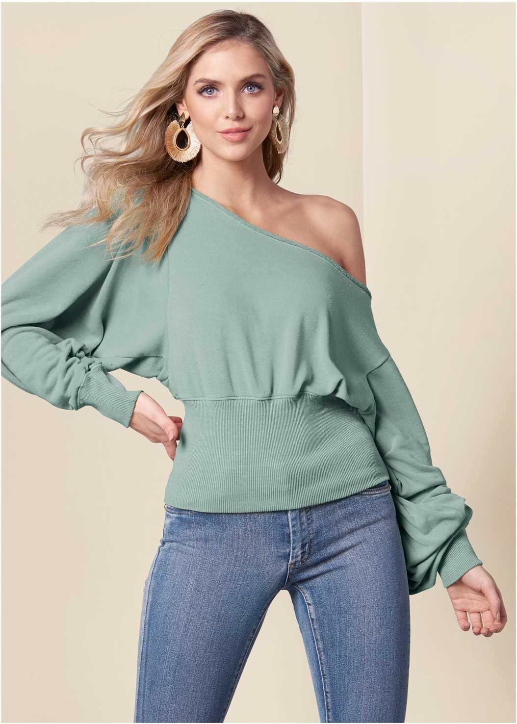 Off The Shoulder Sweatshirt,Mid Rise Color Skinny Jeans
