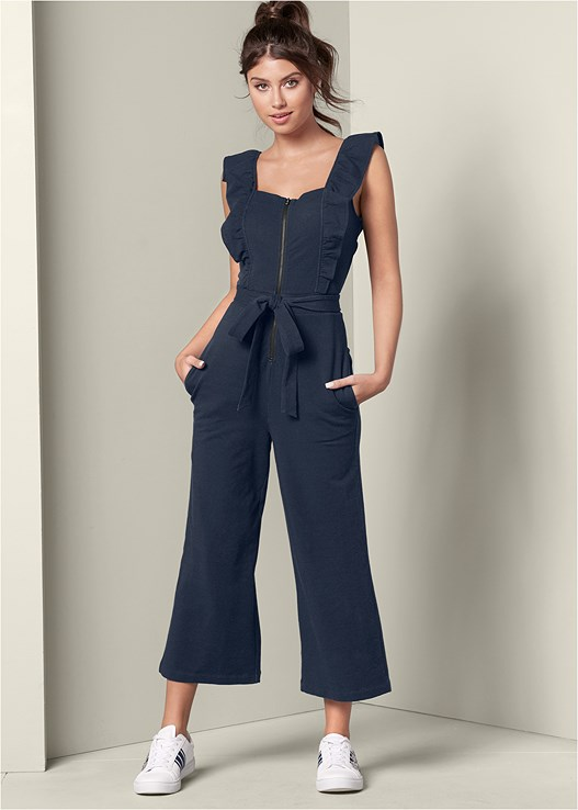 RUFFLE LOUNGE JUMPSUIT,KISSABLE STRAPPY PUSH UP,EMBELLISHED SNEAKER