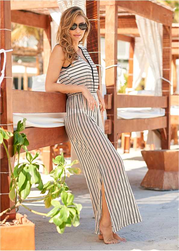 Cover-Up Jumpsuit,Marilyn Underwire Push Up Halter Top,Scoop Front Bikini Bottom
